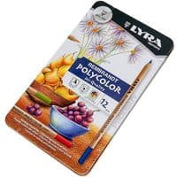 LYRA REMBRANDT POLYCOLOR COLOURING PENCILS GIFT TIN of 24 Ideal for Art Therapy